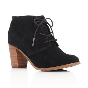 Toms Lunata Lace Up Bootie In Black Suede 9.5